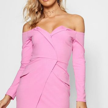 Esther Off the Shoulder Blazer Bodycon Dress | Boohoo