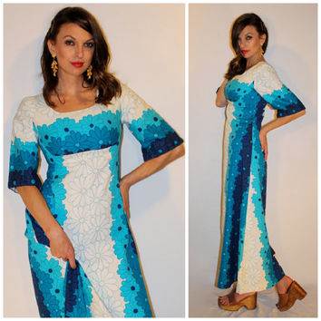 Vintage 70s HAWAIIAN Maxi Dress, RESORT Hippie Barkcloth, Empire Waist Bell Sleeve, Teal Aqua DAISY Flower Dress