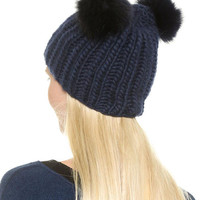 Blue Plush Ball Knit Hat - Sheinside.com