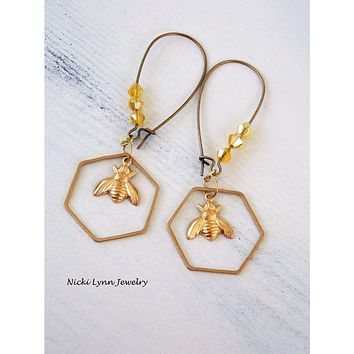 Bumble Bee Honeycomb Earrings