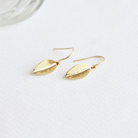 Mini Leaf 24K Gold Earrings, Everyday Jewelry with free gift box, solitaire minimalist simple tiny