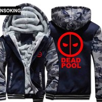H0013 New Winter Warm Deadpool Hoodies Hooded Coat Thick Zipper men cardigan Jacket Sweatshirt