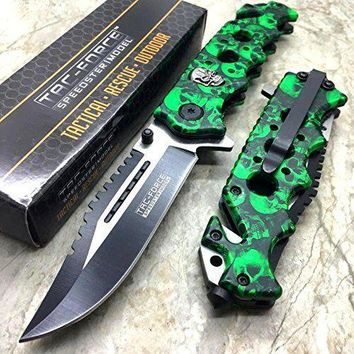 """8"""" SPRING ASSISTED TACTICAL STILETTO Folding POCKET KNIFE Blade Open Stainless"""