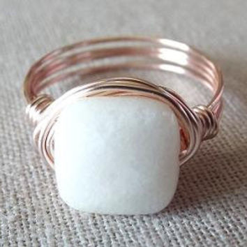 White Jade Ring - White Stone Ring - Rose Gold Ring - Gift for Sister - Gifts Under 15 - Pretty Ring - Simple Ring - Gift for Best Friend