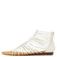 White Bamboo Laser-Cut Caged Gladiator Sandals