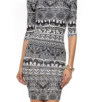Printed Half Sleeve Mini Bodycon Dress