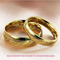 Lord of the Rings Titanium Couple Ring Band 2 Piece Set (TWO RINGS)