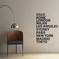 City Names Wall Sticker for office or business