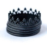 Oxidized Sterling Silver Crown & Stacking Rings – Set of 5