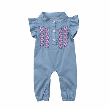 2018 Infant Newborn Baby Girl Sunsuit Summer Sleeveless Floral Embroidery Jeans Denim Romper Clothes Playsuit Jumpsuit Clothing