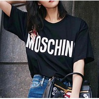 """""""MOSCHINO"""" Popular Women Loose Letter Sexy Girl Print Short Sleeve Round Collar T-Shirt Pullover Top Black I12657-1"""