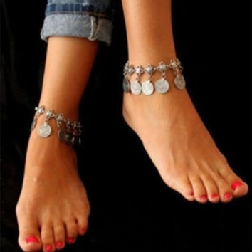 Retro Style Metal Coins Fringed Anklets (Size: 1, Color: Silver) = 1838898436