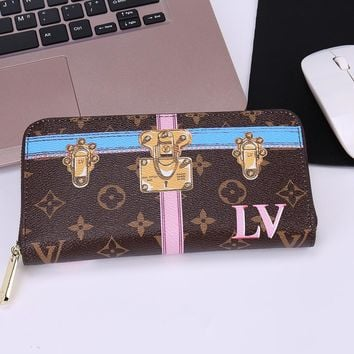 Louis Vuitton Fashion Print Lock Buckle LV Women Men Wallet Zipper B-OM-NBPF Full Color LV Print Coffee (Blue Stripe)