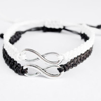 Infinity Hemp Bracelets Black and White Friends Boyfriend Girlfriend