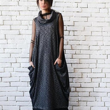 SALE NEW Black Maxi Dress/Oversize Long Top/Plus Size Tunic/Sleeveless Long Dress/Maxi Black Dress/Casual Everyday Dress/Polo Neck Black Dre