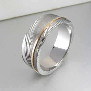 Stainless Damascus Gold Stripe Ring
