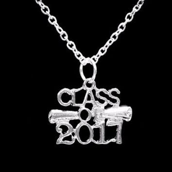 Graduation Gift Class Of 2017 Gift Diploma Charm Pendant Necklace