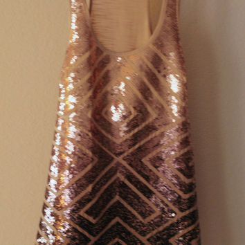 BCBG Ombre Rose Gold Sequin Tank Bcbg Maxazria x-small by Ashley Treece