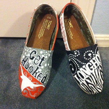 University of Texas Toms  Longhorn Toms Shoes by HeartNSoleDesigns