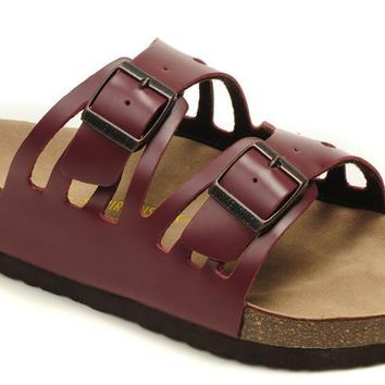 Birkenstock Granada Sandals Leather Wine Red - Ready Stock