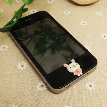 Cute Little Pink Ears Apron Pinafore Rabbit Home Button Sticker for iPhone 3,4/4s,5,ipad 2,3,4,iPod Touch 2,3,4,5