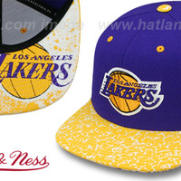 hatland.com - close up of Lakers 'IN-THE-STANDS SNAPBACK' Hat by Mitchell & Ness