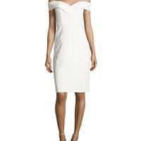 Alice + Olivia Luana Off-the-Shoulder Sheath Dress, White