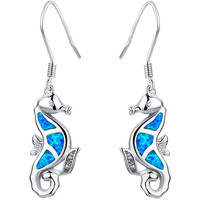 Sterling Silver Seahorse W. Blue and Green Fire Opal Drop Earrings
