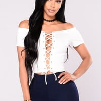Jane Lace Up Crop Top - Ivory