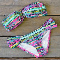 Sunland Valley Green & Pink Aztec Hardware Bikini