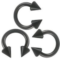 14g 14 gauge 1.6mm , 5/16 inch 8mm long - black color anodized surgical steel circular barbell bulk eyebrow bar lip tragus horseshoe rings earrings lot ANZN- Pierced Jewelry Body Piercing Jewellery- Set of 3
