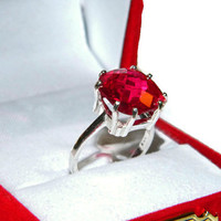 Ruby Ring, Anniversary Ring, Right Hand Ring, 12mm Lab Created, 8 Carats, Cushion Cut