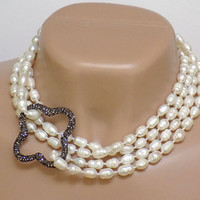 Long Pearl Necklace for Women, White Necklace, Extra Long Necklace, Handmade Beaded Jewelry, Layered Necklace, Pearl Statement Necklace