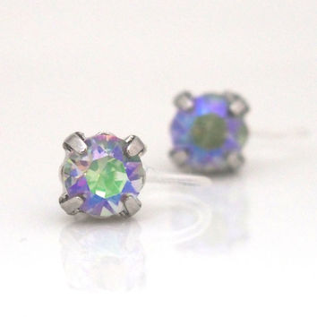 Look like Pierced! 2 ways Invisible Clip On Earrings ! Crystal Paradise Shine Swarovski Stud Clip on Earrings, Silver Stud Clip On Earrings