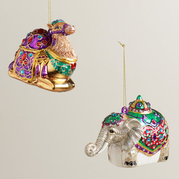 Glass Jewel Camel & Elephant Ornaments, Set of 2 - World Market