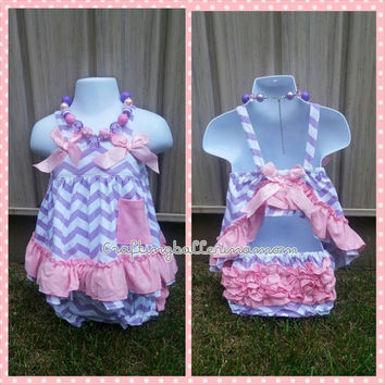 Baby Swing Top Set - Purple Chevron Swing Top Dress - Purple and Pink Swing Top Set - Pink Chevron Baby Girl Outfit - Sofia the First Outfit