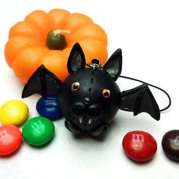 Toothy the Bat Bubbimal -- Handmade Polymer Clay, Cute Halloween Ornament / Decor / Gift, Kawaii Chubby Animal Collectible