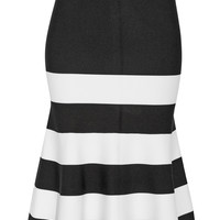 Victoria Beckham - Fluted striped stretch-knit midi skirt
