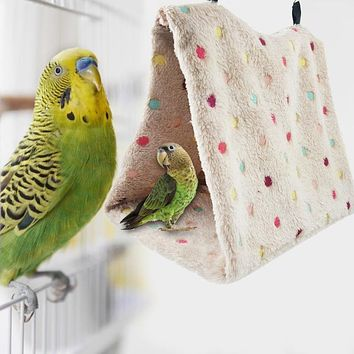 Winter Warm Bird Nest Triangle Parrot Hanging Cage Tent Bed for Winter Birds Cage Bed Toys Hamster Hammock House