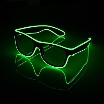 Cool Party Decorative Luminous Glasses Flashing EL Wire LED Glasses Lighting Classic Gift Bright Light Festival Party Supplies