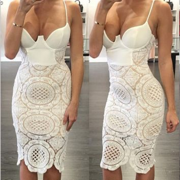 Fashion Sexy straps lace hollow splicing dress