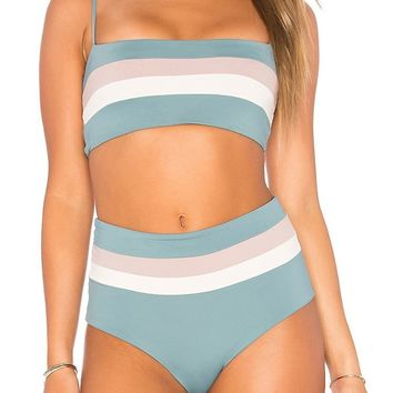Sport Striped High Waist Cami Bikini Swimsuit - Two Piece Set