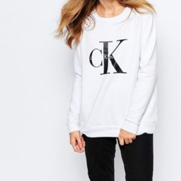 White CK Printed Long Sleeve Printed Loose Pullover Sweater
