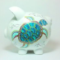 "Sea Turtle Piggy Bank  - Hand Painted Ceramic - Large Size: 8"" x 7.5"" x 7"""