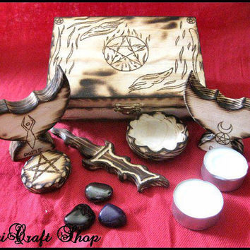 Dark Altar set portable wicca pagan  pocket  by magicraftshop