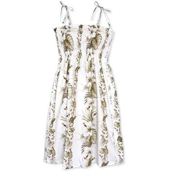 hibiscus fall white hawaiian sunkiss dress