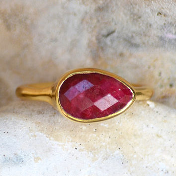 Faceted Ruby 18K Vermeil Gold  or Sterling Silver ring - teardrop peardrop shape stacking bezel set ring - July Birthstone