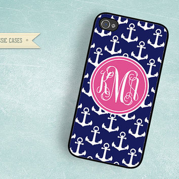 iPhone 4s case Pink Monogram Navy Blue Anchor by QlassicCases