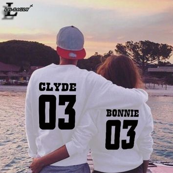 Autumn Funny Lover Clothes Sweatshirt CLYDE 03 And BONNIE 03 Printed Hoodies O-Neck Long-Sleeved Harajuku Couple Pullover H1230