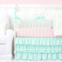Lovely Damask Baby Bedding | Vintage Gray And Mint Crib Set